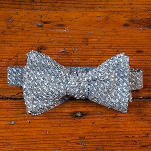 Polka Dot Chambray Bow Tie