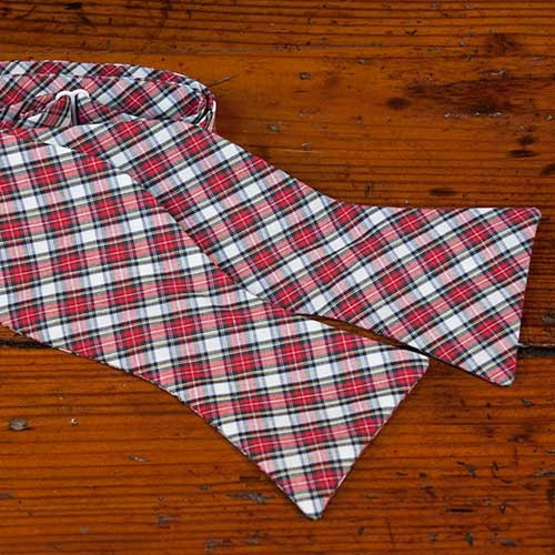 Red and White Plaid Bow Tie
